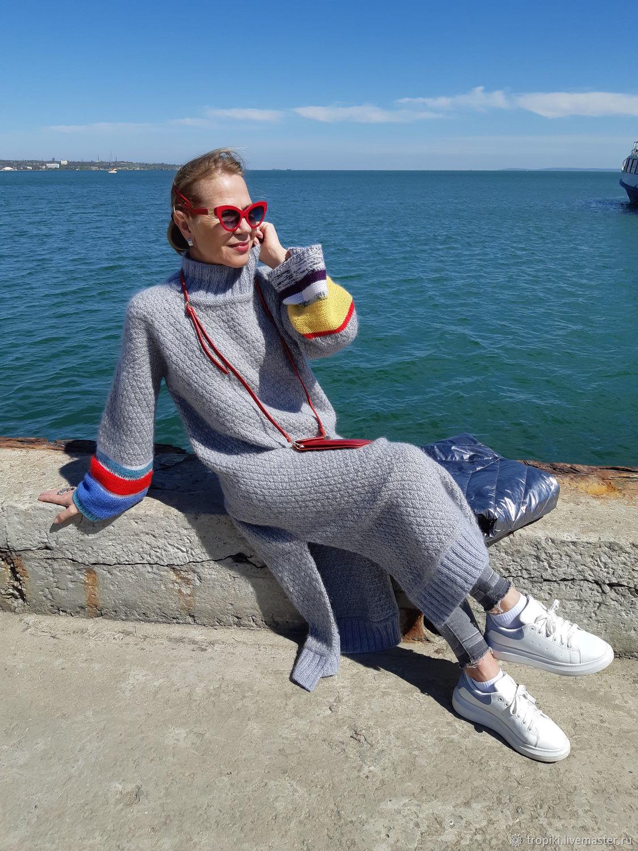 Платье вязаное с цветными рукавами, Платья, Керчь,  Фото №1