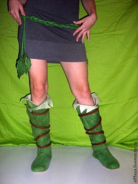 """Обувь ручной работы. Ярмарка Мастеров - ручная работа. Купить Сапожки """"Эльфийские"""". Handmade. Зеленый, валенки, лист, Мериносовая шерсть"""