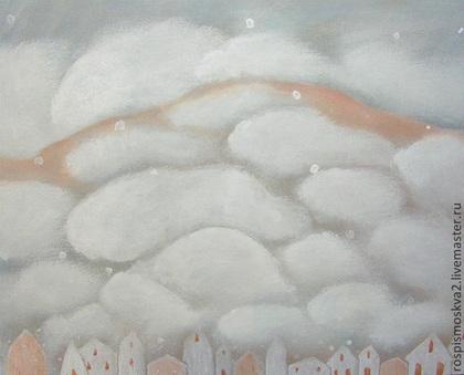 Пейзаж ручной работы. Ярмарка Мастеров - ручная работа Картина Много  облаков  пейзаж  акрил  дома горы. Handmade.