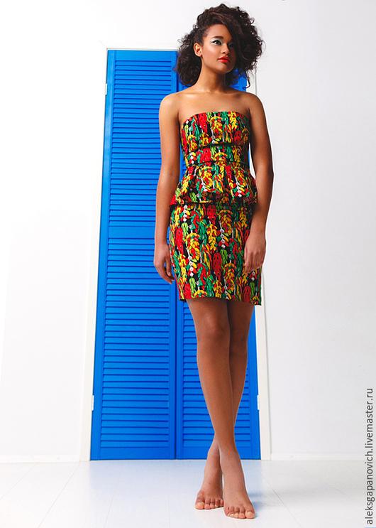 Платья ручной работы. Ярмарка Мастеров - ручная работа. Купить Перчиковое платье-бандо. Скидка 30%. Handmade. Разноцветный