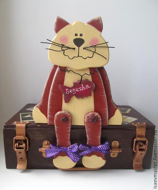 Статуэтки ручной работы. Ярмарка Мастеров - ручная работа. Купить Котик сидящий. Handmade. Разноцветный, деревенский стиль, декор для дома