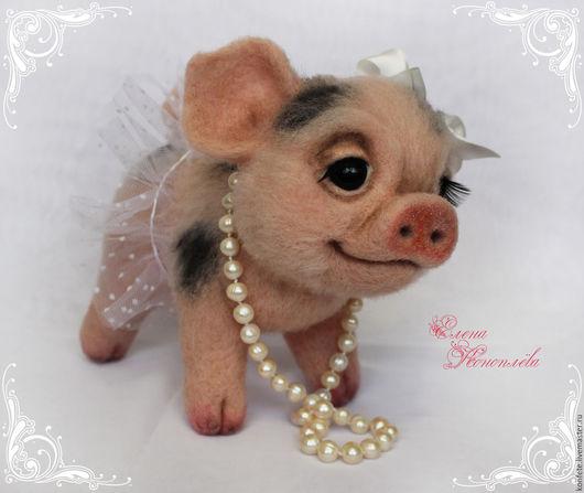 Игрушки животные, ручной работы. Ярмарка Мастеров - ручная работа. Купить Свинка Пенелопа валяная из шерсти. Валяная хрюшка минипиг. Handmade.