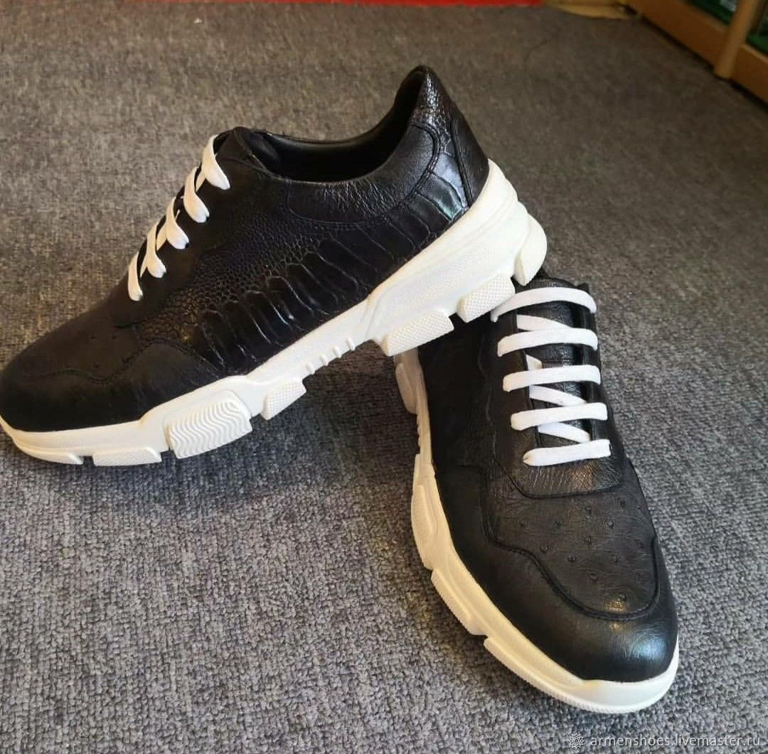 Sneakers made of ostrich leather, in black, Sneakers, Tosno,  Фото №1