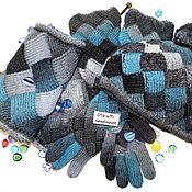 Аксессуары ручной работы. Ярмарка Мастеров - ручная работа Вязаный комплект шарф-снуд,  шапка, перчатки из 100% шерсти. Handmade.