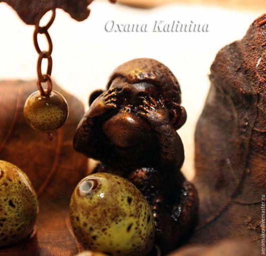 Медитация ручной работы. Ярмарка Мастеров - ручная работа. Купить Три обезьяны - интерьерный объект. Handmade. Коричневый, подарок на год обезьяны