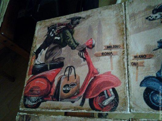 Животные ручной работы. Ярмарка Мастеров - ручная работа. Купить Панно деревянное под гобелен 30х30 см ДОГГИ НА КРАСНОМ СКУТЕРЕ. Handmade.