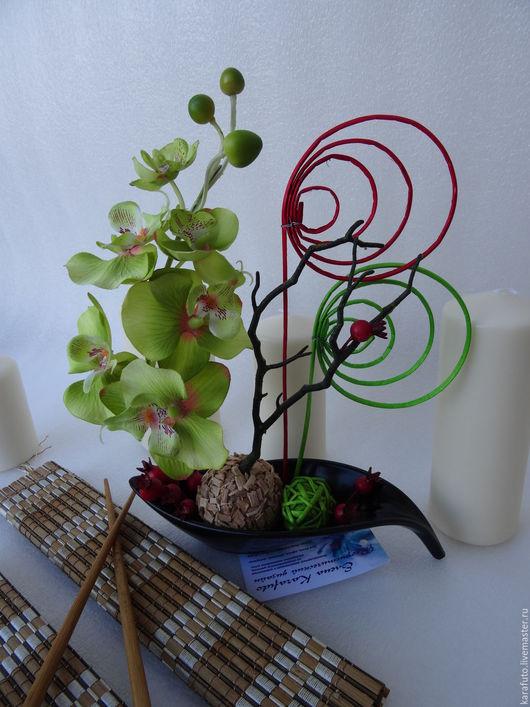Икебана, интерьерные цветы, интерьерный букет, флористическая композиция, букет, интерьерная композиция, цветочная композиция, орхидея, шиповник, парусник, японский стиль, Elena Karafuto.