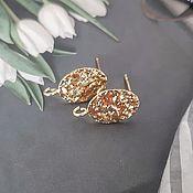 Материалы для творчества handmade. Livemaster - original item Earrings studs 16x8.5 mm gold plated (4488). Handmade.