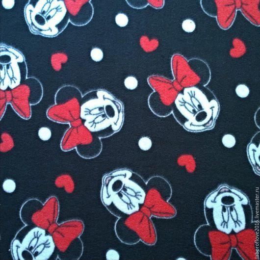 """Шитье ручной работы. Ярмарка Мастеров - ручная работа. Купить Флис с рисунком """"Минни"""". Handmade. Черный, одежда для девочек, полиэстер"""