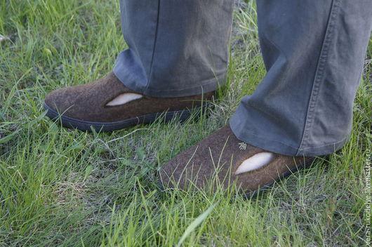 """Обувь ручной работы. Ярмарка Мастеров - ручная работа. Купить Валяные мужские туфли """"Эко-стиль"""". Handmade. Коричневый"""