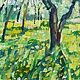 Весенний пейзаж маслом Яблоня яблоневый цвет Одуванчики поле одуванчиков Яблоня в цвету Солнечная картина в подарок