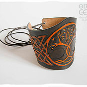"""Кожаный браслет в кельтском стиле """"Древо жизни"""""""