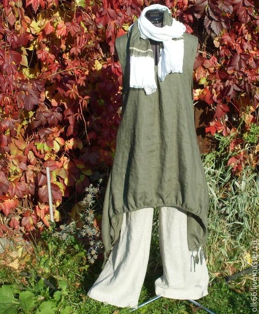 Платья ручной работы. Ярмарка Мастеров - ручная работа. Купить №036 Льняной сарафан-туника. Handmade. Льняной сарафан