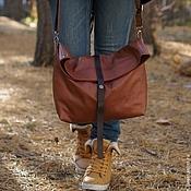 """Сумки и аксессуары ручной работы. Ярмарка Мастеров - ручная работа Большая кожаная сумка-мешок """"November"""". Рыжий, коричневый. Handmade."""