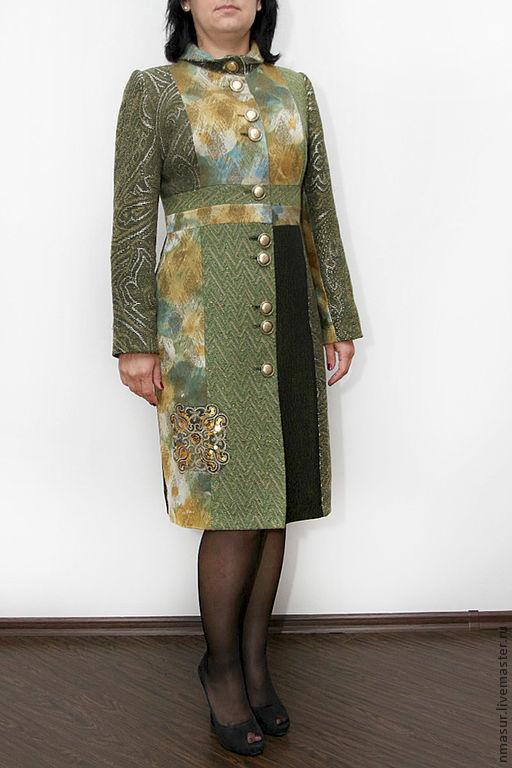 """Верхняя одежда ручной работы. Ярмарка Мастеров - ручная работа. Купить Пальто """"Зеленая мечта"""". Handmade. Пальто демисезонное, болотный"""