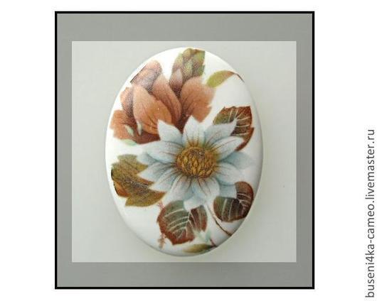 Для украшений ручной работы. Ярмарка Мастеров - ручная работа. Купить Кабошон Цветы №2 30х40мм, фарфор. Handmade. Камея