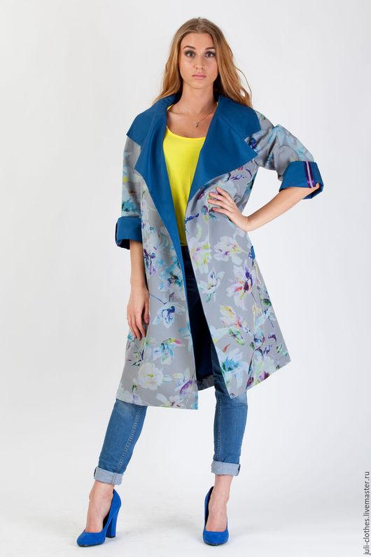 Верхняя одежда ручной работы. Ярмарка Мастеров - ручная работа. Купить ПЛАЩ. Handmade. Синий, цветы, Плащёвка, принт на ткани