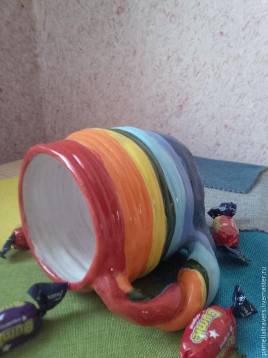 """Кружки и чашки ручной работы. Ярмарка Мастеров - ручная работа. Купить Керамическая чашка """" Большая радуга"""". Handmade. Разноцветный"""