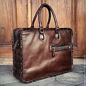 Сумки и аксессуары handmade. Livemaster - original item Briefcase made of genuine leather and crocodile skin. Handmade.