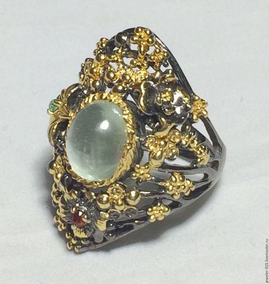 """Кольца ручной работы. Ярмарка Мастеров - ручная работа. Купить Авторское кольцо с нат. Аквамарином """"Мирослава"""", серебро 925, золото. Handmade."""