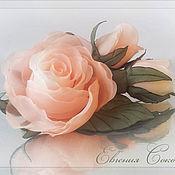 Свадебный салон ручной работы. Ярмарка Мастеров - ручная работа Брошь Абрикосовые розы. Handmade.
