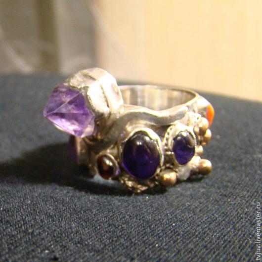Кольца ручной работы. Ярмарка Мастеров - ручная работа. Купить Калейдоскоп. Handmade. Кольцо из серебра, кольцо с камнями, серебро, аметист