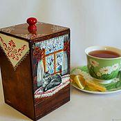 Банки ручной работы. Ярмарка Мастеров - ручная работа Короб Банка для чая Кошка на окошке. Handmade.