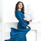 Одежда ручной работы. Ярмарка Мастеров - ручная работа Платье в пол. Синяя лазурь. Handmade.