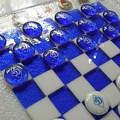 Нарды, шашки ручной работы. Ярмарка Мастеров - ручная работа игра ШАШКИ-ШАХМАТЫ из стекла.фьюзинг. Handmade.