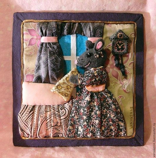 Крыса с сыром. Объемная картина из ткани. Картина для детской комнаты, панно в детскую. Картина для девочки.
