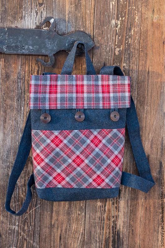 Рюкзаки ручной работы. Ярмарка Мастеров - ручная работа. Купить Шерстяной рюкзак в клетку. Handmade. Тёмно-синий, шерсть
