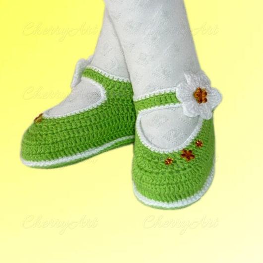 Для новорожденных, ручной работы. Ярмарка Мастеров - ручная работа. Купить Пинетки для девочки Зеленоглазка. Handmade. Зеленый, туфли