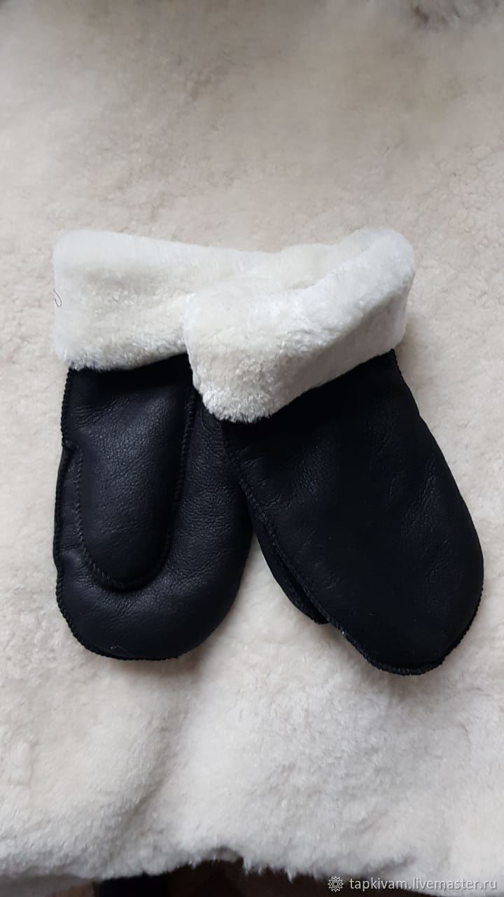 Men's Leather Sheepskin Mittens Black, Mittens, Moscow,  Фото №1