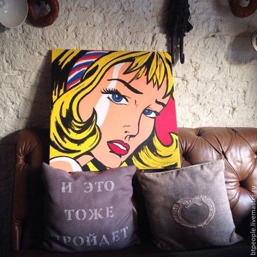 Репродукция Рой Лихтенштейн `Girl with Hair Ribbon`, 1965 Стиль: поп-арт Сроки изготовления 3-5 дней. Масло, холст с подрамником.  Размеры: 60см х 60см