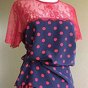 Блузки ручной работы. Ярмарка Мастеров - ручная работа Блуза 1017 шелк, горох. Handmade.