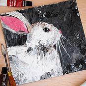 Картины и панно ручной работы. Ярмарка Мастеров - ручная работа Заяц. Картина акрилом. Handmade.