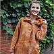 """Верхняя одежда ручной работы. Ярмарка Мастеров - ручная работа. Купить Пальто """"Осень"""". Handmade. Пальто, на шелке, кожаный шнур"""
