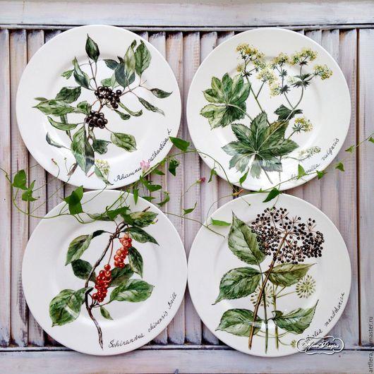 Тарелки ручной работы. Ярмарка Мастеров - ручная работа. Купить Роспись фарфора Тарелки на стену Аптекарский огород. Handmade.