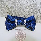 Аксессуары handmade. Livemaster - original item Classic blue  Bow Tie Blue patterns /  blue ornament/ cotton classic i. Handmade.
