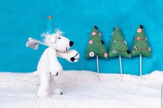 Новый год 2017 ручной работы. Ярмарка Мастеров - ручная работа. Купить Медведь белый в колпаке. Handmade. Белый, новогодняя игрушка