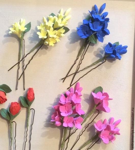 Свадебные украшения ручной работы. Ярмарка Мастеров - ручная работа. Купить Шпильки для невесты с цветами розовой гортензии. Handmade. Розовый