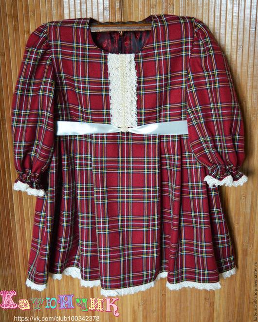 Одежда для девочек, ручной работы. Ярмарка Мастеров - ручная работа. Купить Платье для девочки в клеточку, платье шотландка, платье на девочку (2). Handmade.