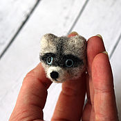 Украшения handmade. Livemaster - original item Brooch made of wool Raccoon. Handmade.