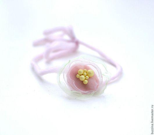 Диадемы, обручи ручной работы. Ярмарка Мастеров - ручная работа. Купить Повязка на голову для фотосессий  новорожденных Нежно-розовый Цветок. Handmade.