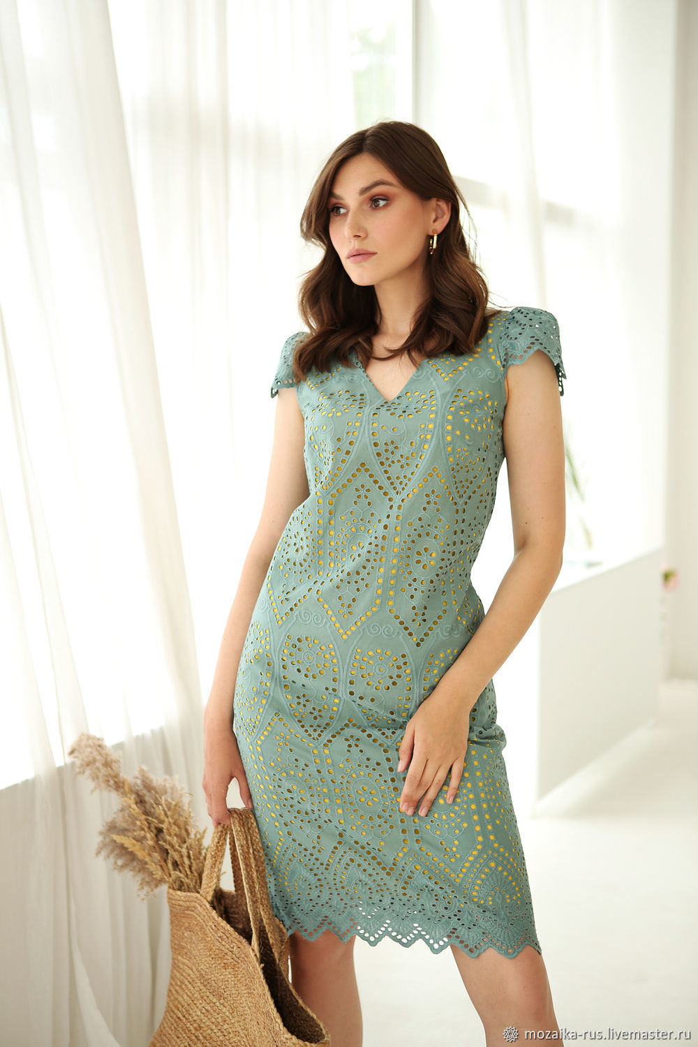Byzantium cotton dress2, turquoise-yellow dress, Dresses, Novosibirsk,  Фото №1