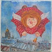 Картины и панно ручной работы. Ярмарка Мастеров - ручная работа Картина маслом на холсте Ангел с колокольчиком. Handmade.
