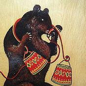 Картины ручной работы. Ярмарка Мастеров - ручная работа Мишка. Роспись по дереву.. Handmade.