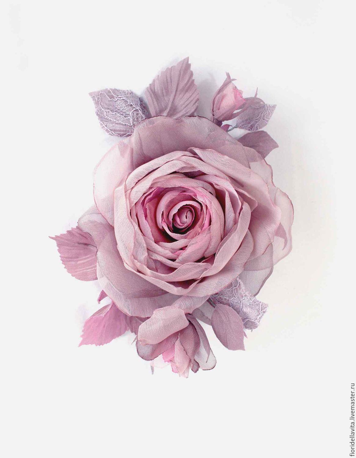 FLOWERS from the FABRIC branch of the rose ' Pale pink', Brooches, Vidnoye,  Фото №1