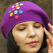 Berets handmade. Livemaster - original item Women`s hat for spring takes an elegant knitted bright Bouquet. Handmade.