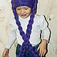 Шапки и шарфы ручной работы. Заказать сиреневая шапка с косами. Yulia Tikhonravova. Ярмарка Мастеров. Косы